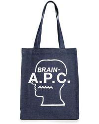 A.P.C. Brain Dead Tote Bag - White