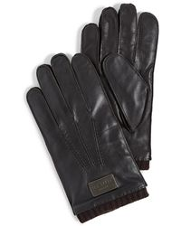 Ted Baker Blokey Leather Stab Stitched Gloves - Brown
