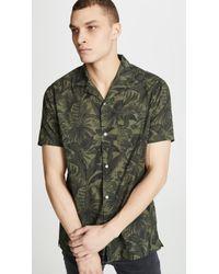 Officine Generale Short Sleeve Jungle Print Shirt - Green