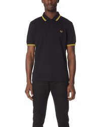 Fred Perry Twin - Tipped Slim Fit Polo Shirt - Black