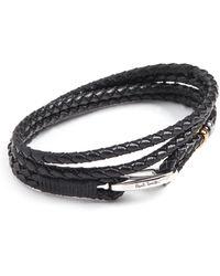 Paul Smith Leather Wrap Bracelet - Black