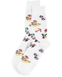 Polo Ralph Lauren Bearwaiian Slack Socks - White