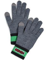 KENZO Logo Tag Knit Gloves - Grey