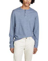 Vince Long Sleeve Stripe Henley Shirt - Blue