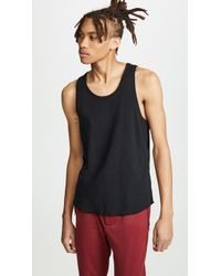 Wings + Horns 1x1 Slub Tank Top - Black