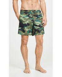 Sundek Camouflage Swim Shorts With Elastic Waist - Green
