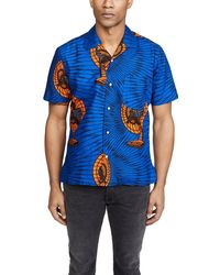 Gitman Brothers Vintage Met's Fan Camp Collar Short Sleeve Shirt - Blue