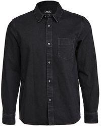 A.P.C. Victor Washed Denim Shirt - Blue