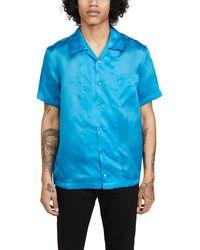 Helmut Lang Slim Fit Silk Short Sleeve Button-up Shirt - Blue