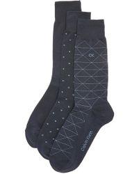 Calvin Klein - 3 Pack Fashion Geometric Socks - Lyst