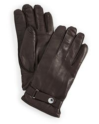 Paul Smith Strap Leather Gloves - Brown