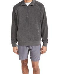 Save Khaki Beach Terry Quarter Zip Sweatshirt - Black