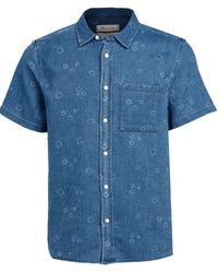 Madewell Short Sleeve Perfect: Painted Boxes Print Shirt - Blue
