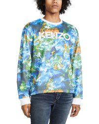 KENZO World Print Sweatshirt - Blue