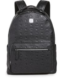 MCM Stark Mongorammed Leather Backpack 40 - Black