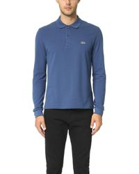 472e9b01 Lacoste Long Sleeve Classic Pique L.12.12 Original Fit Polo Shirt in ...