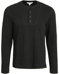 Club Monaco Double Knit Long Sleeve Henley - Black