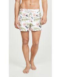 Sundek Floral Swim Shorts With Elastic Waist - White