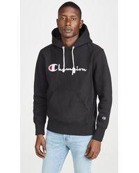 Champion Big Script Logo Hooded Sweatshirt - Black