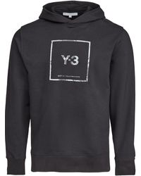 Y-3 Square Label Graphic Hoodie - Black