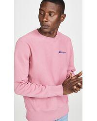 Champion Small Script Logo Crew Neck Sweatshirt - Pink