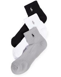 Polo Ralph Lauren 3 Pack Tech Athletic Quarter Socks - Black
