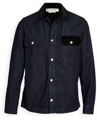 Marni Indigo Drill Chore Coat - Blue