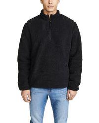 Vince Sherpa Mock Neck Pullover - Black