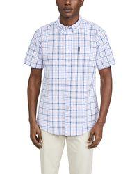 Barbour Tailored Fit Check Short Sleeve Button-down Seersucker Shirt - Pink