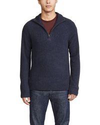 Vince Quarter Zip Long Sleeve Sweater - Blue