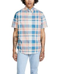 Gitman Brothers Vintage Archive Cotton Madras Short Sleeve Shirt - Blue