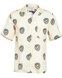 Portuguese Flannel Short Sleeve Button Down Shirt - White
