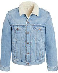 Madewell Sherpa Lined Denim Jacket - Blue