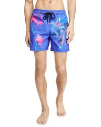 Vilebrequin Mappemonde Sonar Swim Trunks - Blue