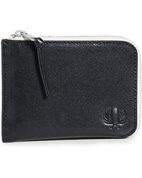 Fred Perry Contrast Interior Zip Around Wallet - Black