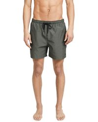 Solid & Striped The Classic Olive Seersucker Trunks - Green