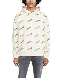 Lacoste Loose-fit Long-sleeve -print French Terry Hoodie - Natural