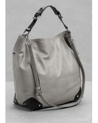 & Other Stories Slouchy Leather Shoulder Bag - Metallic