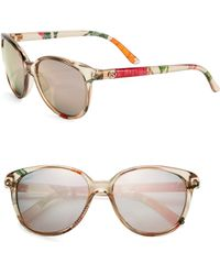 Gucci Floral 55Mm Round Sunglasses beige - Lyst
