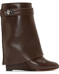 Givenchy Brown Leather Shark Lock Wedge Boots - Lyst