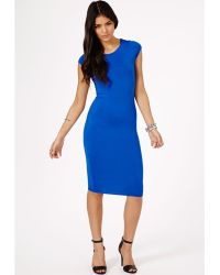Missguided Cailey Bodycon Midi Dress In Cobalt Blue