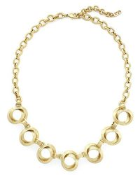 Cole Haan - Double Circle Frontal Necklace - Brushed Gold - Lyst