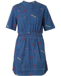 House Of Holland Scribbleembroidered Denim Dress - Lyst
