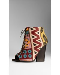 Burberry Tapestry Peeptoe Ankle Boots - Lyst