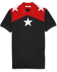 Givenchy Star Appliqué Colourblock Polo Shirt - Lyst
