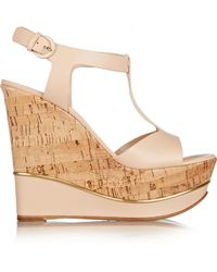 Casadei T-Strap Leather Wedge Sandals - Lyst