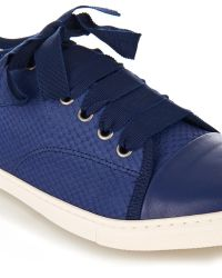 Lanvin Snake-Effect Leather Trainers - Lyst