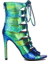 AKIRA Caged Holographic Lace Up Heels - Green