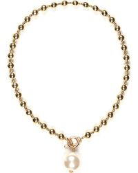 River Island Gold Tone Pearl Pendant Ball Necklace - Lyst
