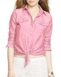 Lauren by Ralph Lauren Silk-Cotton Blend Shirt - Lyst